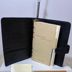 Louis Vuitton Agenda Mm black epi With notes